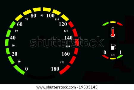 Speedometer with other indicators, oil, temperature, black background