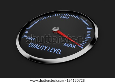speedometer with quality level, with needle near the max (3d render) - stock photo