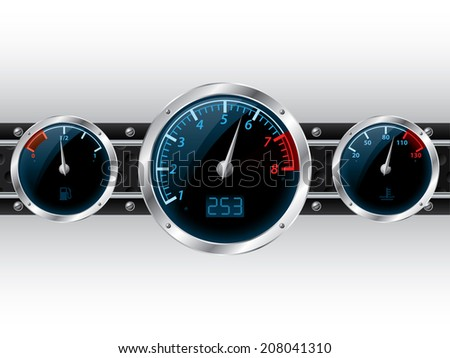 Speedometer with rpm and separate fuel and water temperature gauge - stock photo