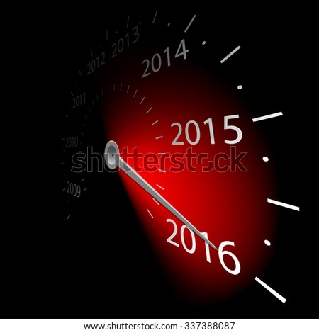 Speedometer with the date New Year 2016. illustration.
