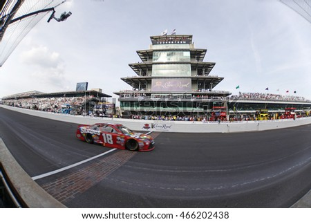 Speedway, IN - Jul 24, 2016: Kyle Busch (18) battles for position during the Combat Wounded Coalition 400 at the Indianapolis Motor Speedway in Speedway, IN.