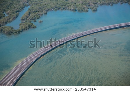 Speedway over the sea - stock photo