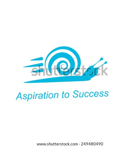 Speedy snail - concept of achieving success on white background, 2d illustration, raster - stock photo