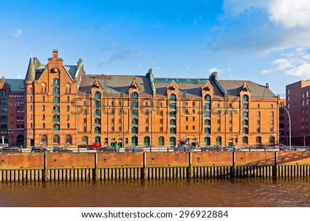 Speicherstadt district in Hamburg, Germany. This largest warehouse district in the world received the UNESCO world heritage status in July 2015 - stock photo