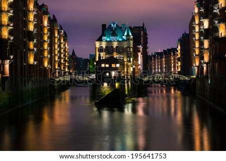 Speicherstadt, or warehouse district in Hamburg at night