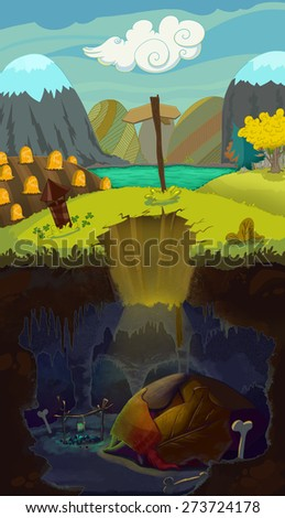 Speleology, cartoon style. Life above and under the ground. Digital background raster illustration for kids book. - stock photo