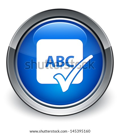 Spell check abc icon glossy blue button - stock photo