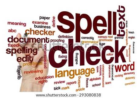 Spell check concept word cloud background - stock photo