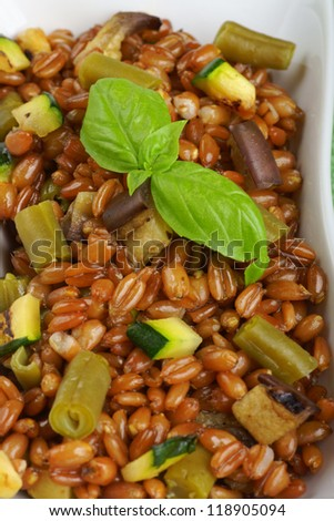 Spelt salad with eggplants, zucchini and green beans served in a white plate. Selective focus, shallow DOF - stock photo