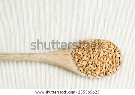 spelt with spoon on table cloth, close up, background