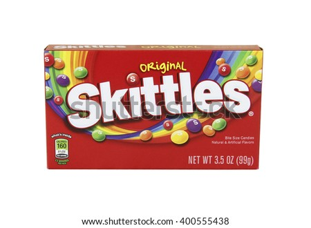 SPENCER , WISCONSIN, April,4, 2016    Box of Skittles candies  Skittles was founded in 1974 by a British company - stock photo