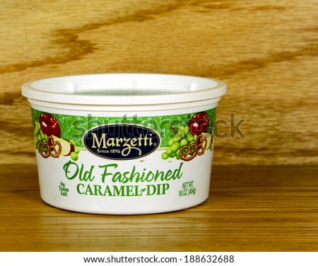 SPENCER , WISCONSIN-APRIL 22, 2014 : Marzetti Old Fashioned Carmel Dip. The T.Marzetti company was founded in 1896 and produces a variety of dressings and dips. - stock photo