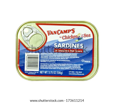 SPENCER , WISCONSIN - JANUARY 27, 2014 : can of VanCamp'S Sardines in Louisiana Hot Sauce. VanCamp's is by Chicken of the Sea , a leading provider of packaged seafood