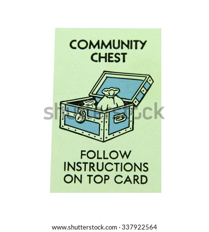 SPENCER , WISCONSIN, November, 11, 2015   Monopoly Board Game Community Chest  Square  Monopoly was first introduced by Parker Brothers in 1935 - stock photo