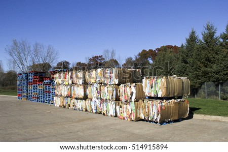 Spencer, Wisconsin - November, 13, 2016   Several bundles of paper and cardboard ready for recycling