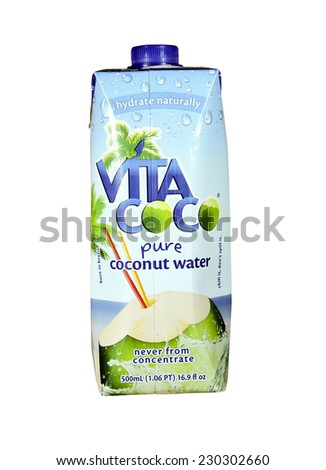 SPENCER , WISCONSIN Oct. 10, 2014:  Bottle of  Vita Coco Coconut Water. Vita Coco produces and markets pure natural Coconut water.