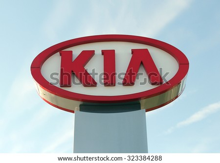 SPENCER , WISCONSIN, OCTOBER, 3  2015    KIA Motors Sign  KIA Motors is based in South Korea and was founded in 1944 - stock photo