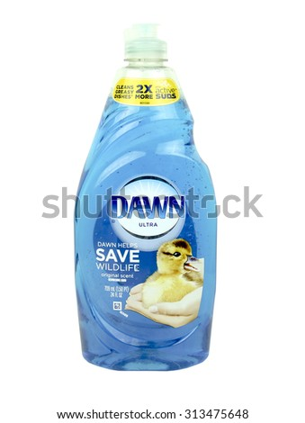 SPENCER , WISCONSIN, September, 5, 2015   Bottle of Dawn Dish Soap Dawn is a dishwasing liquid owned by Procter and Gamble an was introduced in 1973 - stock photo