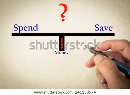 Spend and save text concept write on wall  - stock photo