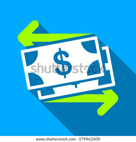 Spend Banknotes long shadow raster icon. Style is a flat light symbol with rounded angles on a blue square background. - stock photo