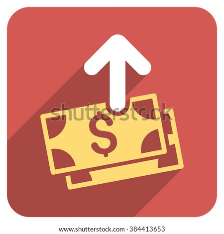 Spend Money long shadow glyph icon. Style is a flat symbol on a red rounded square button.