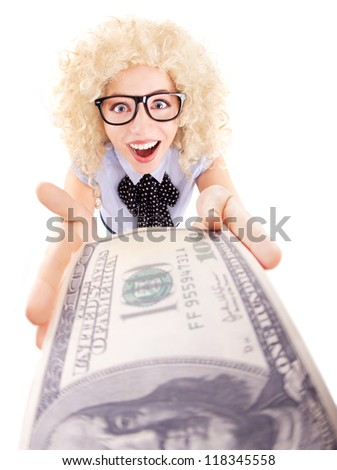 Spending money concept, happy woman holding hundred dollar bill - stock photo