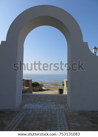Sperlonga, Italy - October 17, 2017: Architectural detail of one of many arches seen in Sperlonga, Latina region, Italy