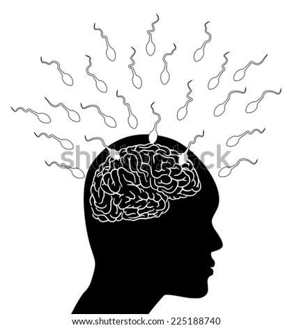 Sperm attack the brain - Illustration - stock photo