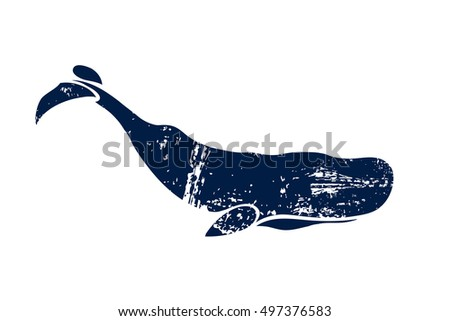 Sperm whale. Physeter macrocephalus. Whale isolated on a light background. Logo for your design. Ink. Hand drawn. Raster copy.