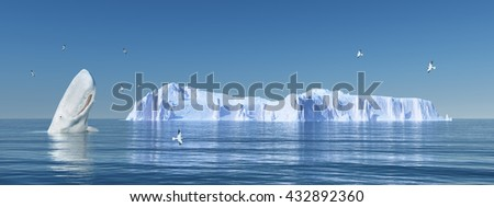 Sperm whale, sea gulls and iceberg Computer generated 3D illustration - stock photo