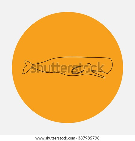 Sperm Whale. Simple flat icon on orange circle - stock photo