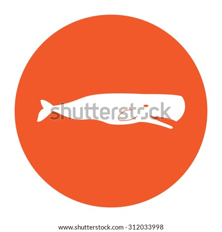 Sperm Whale. Simple flat white icon in the orange circle. illustration symbol - stock photo