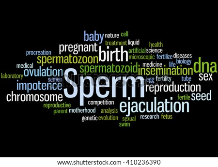 Sperm, word cloud concept on black background. - stock photo