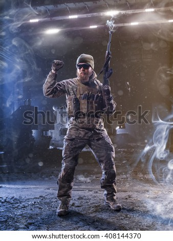 Spesial forces soldier attacks the enemy  - stock photo