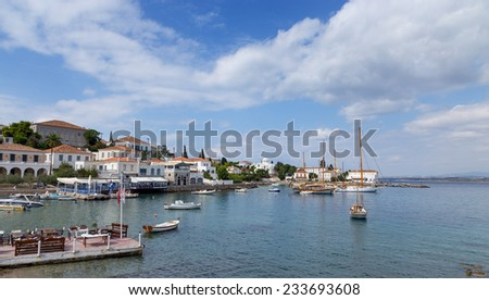 Spetses island old harbor, Greece  - stock photo