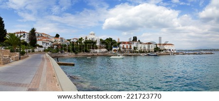 Spetses island waterfront, Greece - stock photo