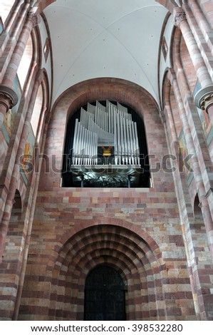 SPEYER, GERMANY - APRIL 11, 2015: Interior of the church in Speyer with the pipe organ. Germany. - stock photo