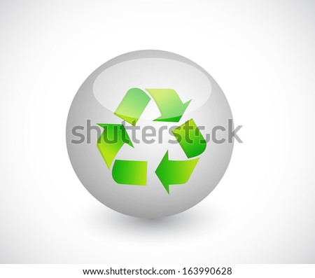 sphere and recycle illustration design over a white background - stock photo
