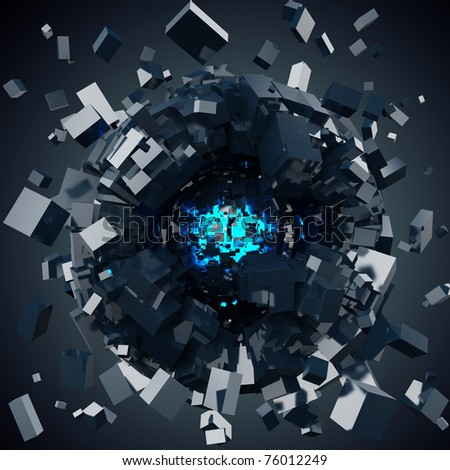 sphere attracting particles - stock photo