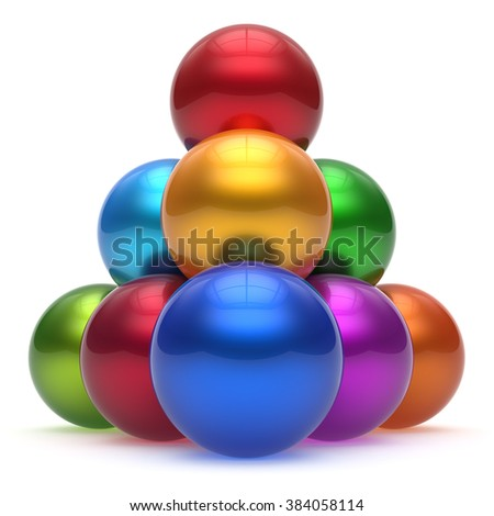 Sphere ball pyramid hierarchy corporation top order leadership different element teamwork group business high level concept multicolored shiny sparkling. 3d render isolated - stock photo