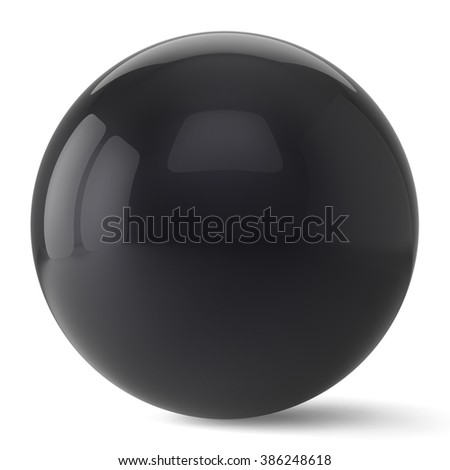 Sphere button round black ball geometric shape basic circle solid figure simple minimalistic atom element single drop shiny glossy sparkling object blank balloon icon. 3d render isolated - stock photo