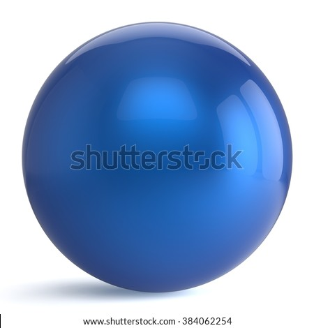 Sphere button round blue ball geometric shape basic circle solid figure simple minimalistic atom element single drop shiny glossy sparkling object blank balloon icon. 3d render isolated - stock photo