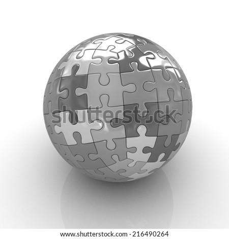 Sphere collected from puzzle on a white background