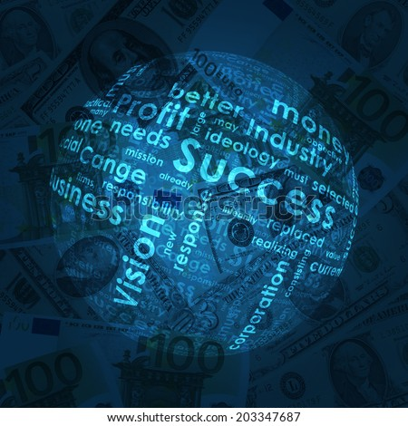 Sphere consisting of business words on money background