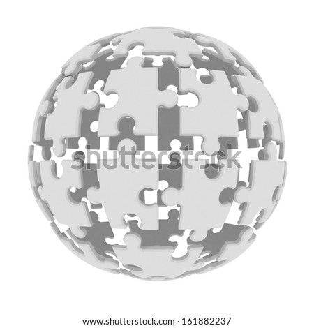 Sphere consisting of puzzles. 3d render isolated on white background
