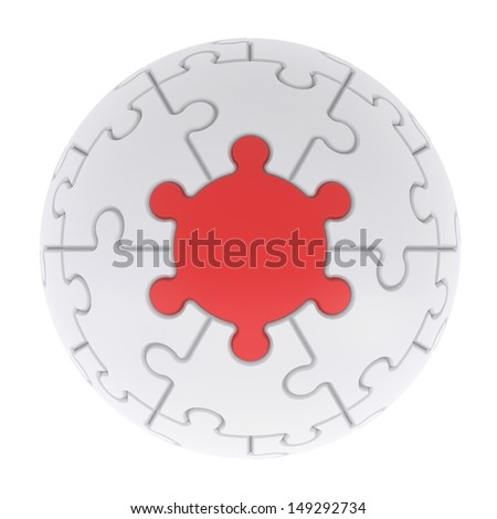 Sphere consisting of puzzles. Isolated render on a white background