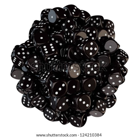 Sphere from black dice isolated on the white background - stock photo