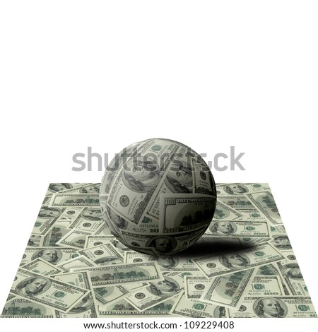 Sphere from denominations face value of 100 dollars on banknotes - stock photo