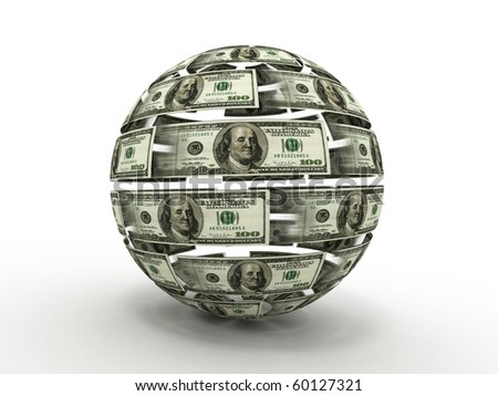 Sphere from dollar. 3d - stock photo