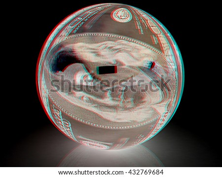 Sphere from  dollar . On a black background. 3D illustration. Anaglyph. View with red/cyan glasses to see in 3D. - stock photo
